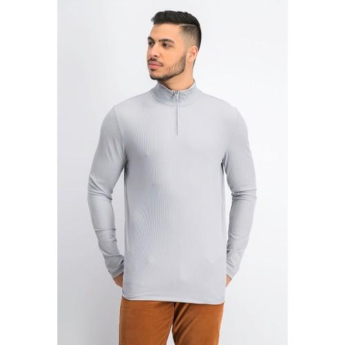Alfani Men's Lightweight Ribbed Quarter-Zip Pullover Gray Size Extra Large