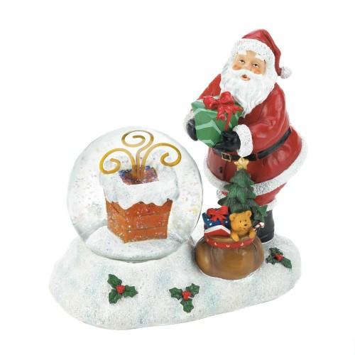 Santa Chimney Holiday Decorative LED Christmas Snow Globe - Polyresin