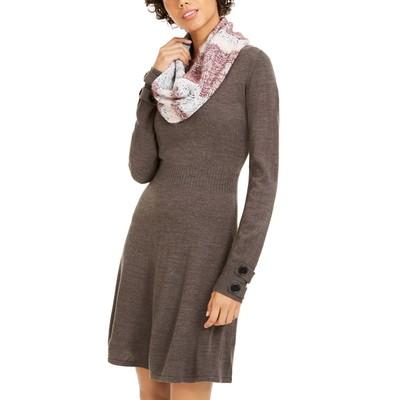 BCX Juniors' Striped Scarf & Sweater Dress Black Size Medium