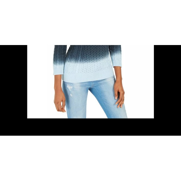Tommy Hilfiger Women's Off The Shoulder Tie Dye Sweater Blue Size X-Small