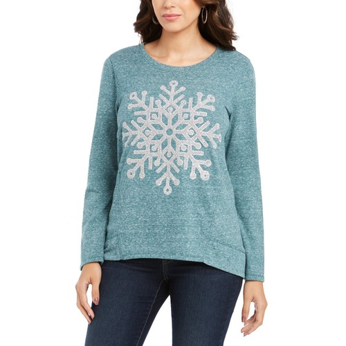 Style & Co Snowflake Graphic Sweatshirt Green Size XX-Large