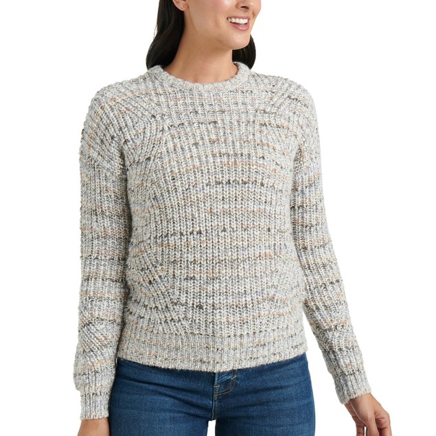 Lucky Brand Women's Marled-Knit Crewneck Sweater Gray Size Small