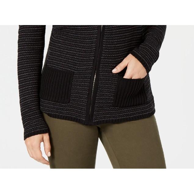 Karen Scott Women's Textured Zip-Front Cardigan Black Size Large