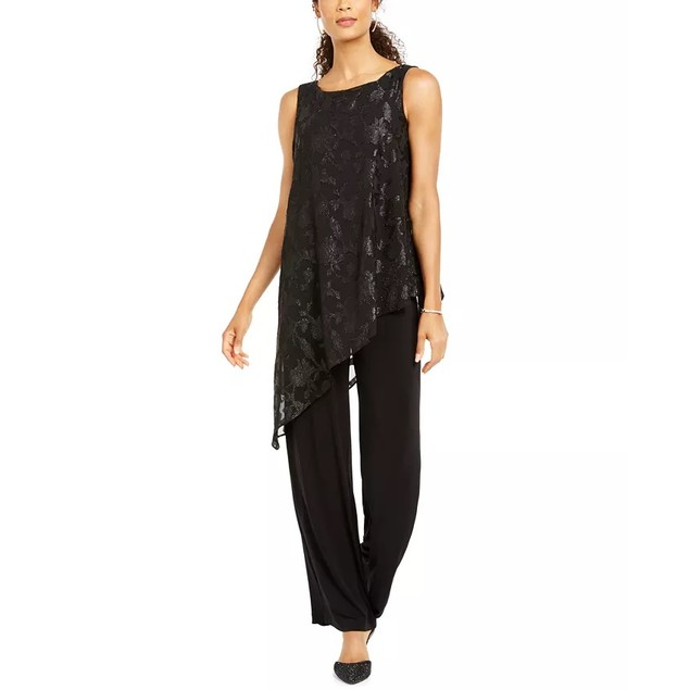 Connected Women's Asymmetrical-Overlay Jumpsuit Black Size 8