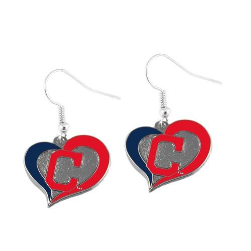 MLB Cleveland Indians Swirl Heart Dangle Earring Charm gift