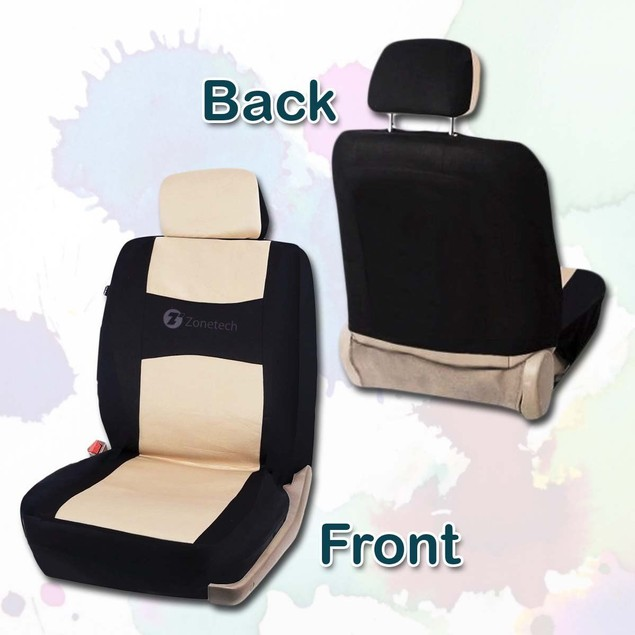 Zone Tech Flat Cloth Universal Car Seat Covers Black/Beige Full Set