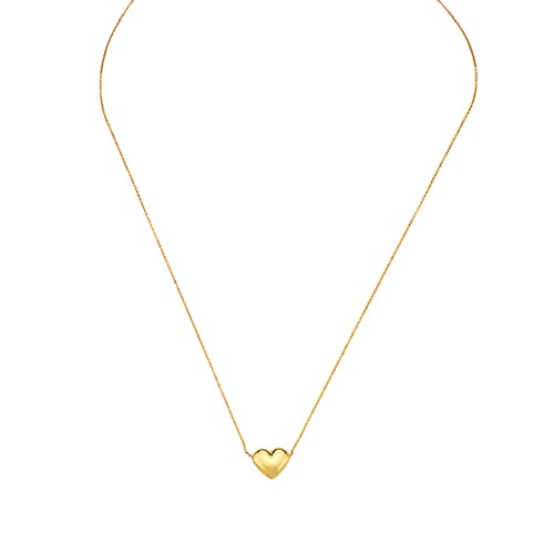 """10K Gold Puffed Heart Necklace for Women Adjustable 16""""-18"""""""