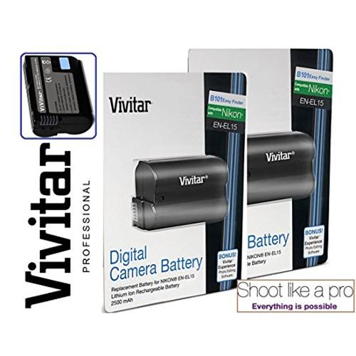 2-Pcs Hi-Capacity EN-EL15 Battery For Nikon D800E D750 D750D D610 D600 1 V1