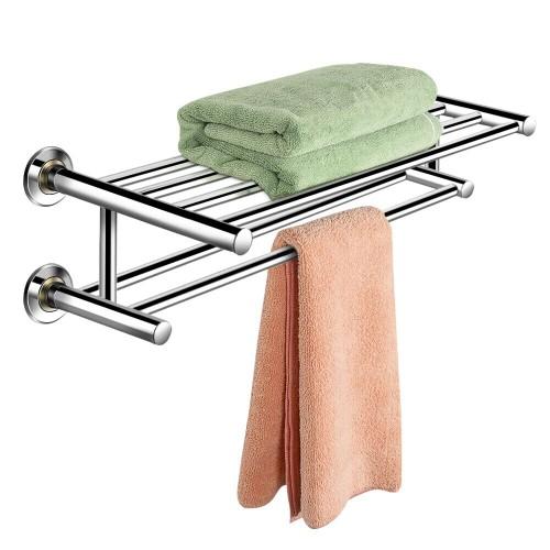 Costway Wall Mounted Towel Rack Bathroom Hotel Rail Holder Storage Shelf St