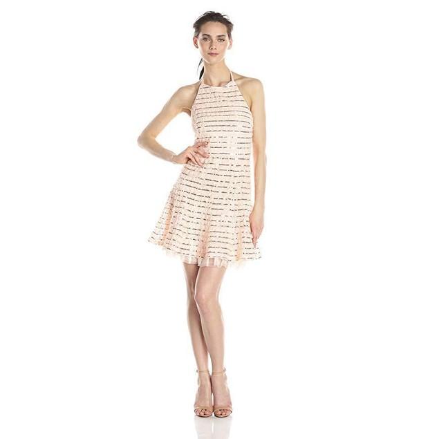 Jessica Simpson Women's Rosette Halter Dress with Sequin Trim, Blush,
