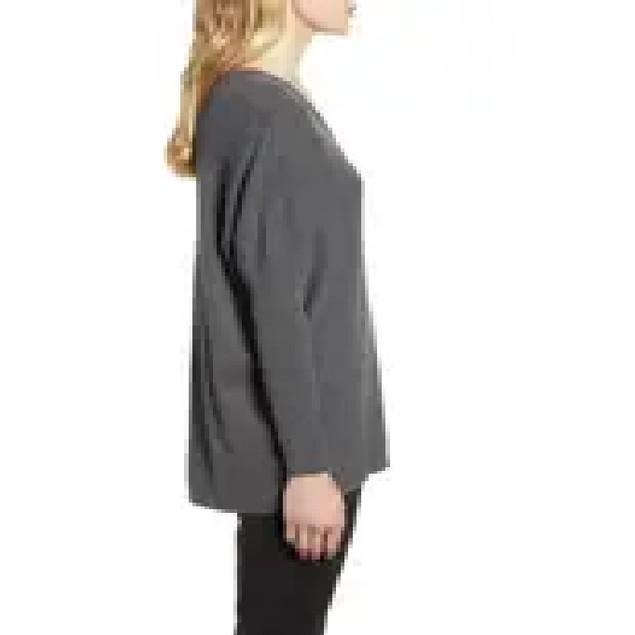Anne Klein Women's Rib V-Neck Sweater Gray Size 34X16