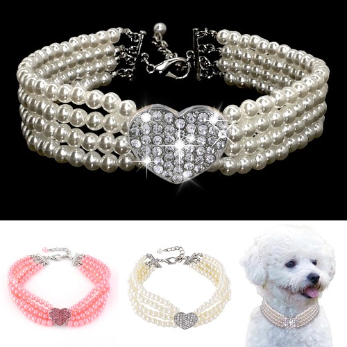 Pet Puppy Small Dog Jewelry Necklace Pearl Collar