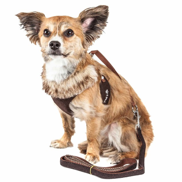 Pet Life Luxe 'Furracious' 2-In-1 Dog Harness-Leash W/ Removable Fur Collar
