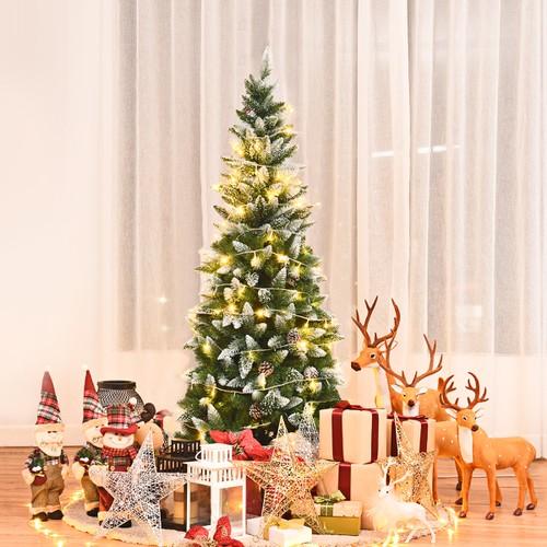 Costway 5ft Snow Flocked Unlit Pencil Christmas Tree Hinged Pine Cones