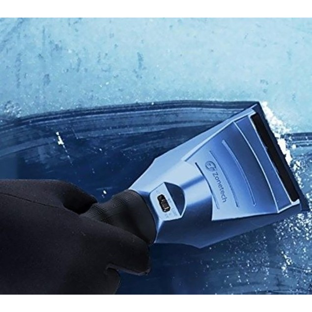 Zone Tech Heated Car Window Snow Ice Scraper LED Light Blue 12V 14 Ft. Cord