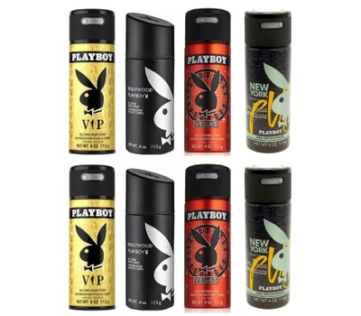 Playboy for Him 24hr Deodorant All Over Body Spray Set 8 TOTAL,2x VIP,2x Hollywood,2x Vegas and 2x New York, 4 oz each Was: $80 Now: $34.99.