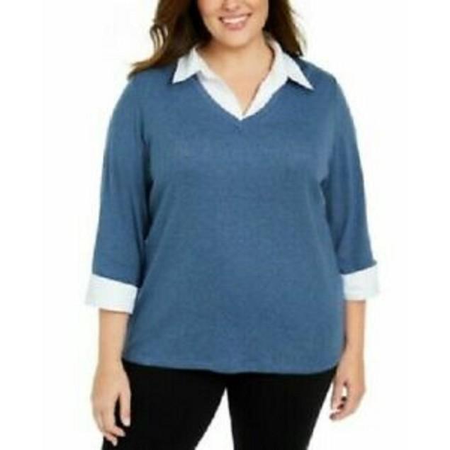 Karen Scott Women's Plus Size Layered Cotton Top Blue Size Extra Large