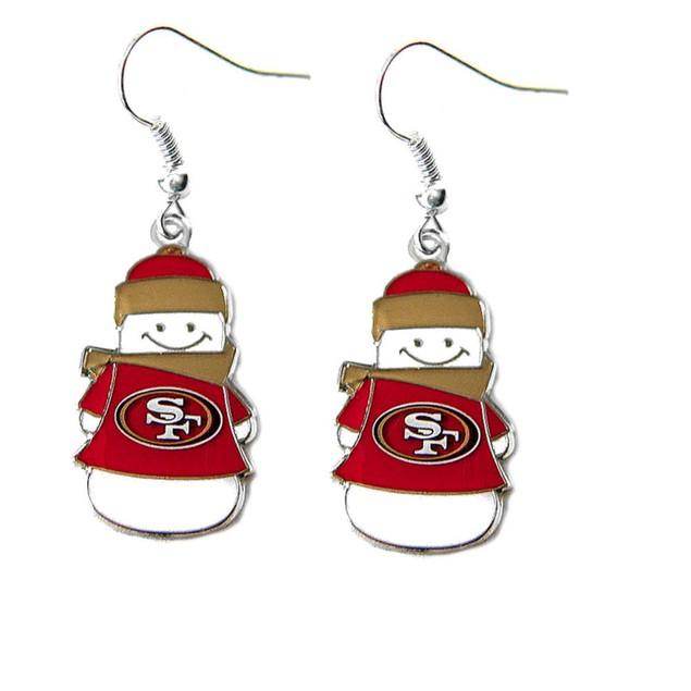 NFL SAN Francisco 49ers Snowman Dangle Logo Earring