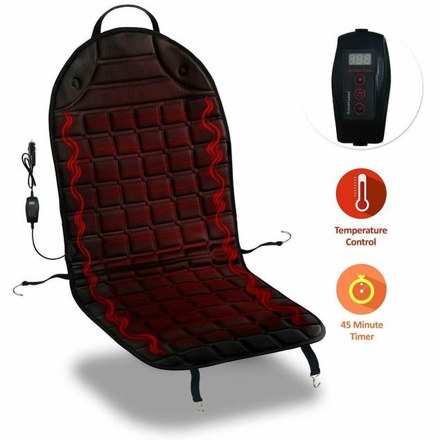 Zone Tech Heated Car Seat Heater Cushion 45 Minute Shutoff Safety Timer
