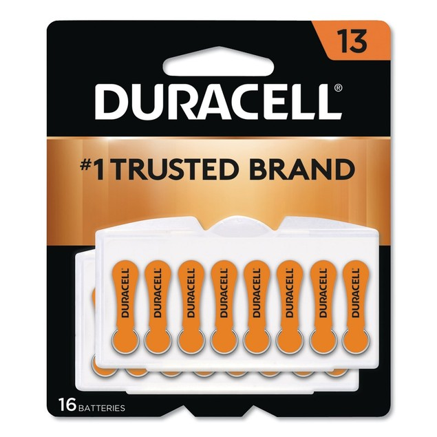 Duracell 1.4 V Size 13 Zinc Air Hearing Aid Batteries w/ Easy-Fit Tab, 16