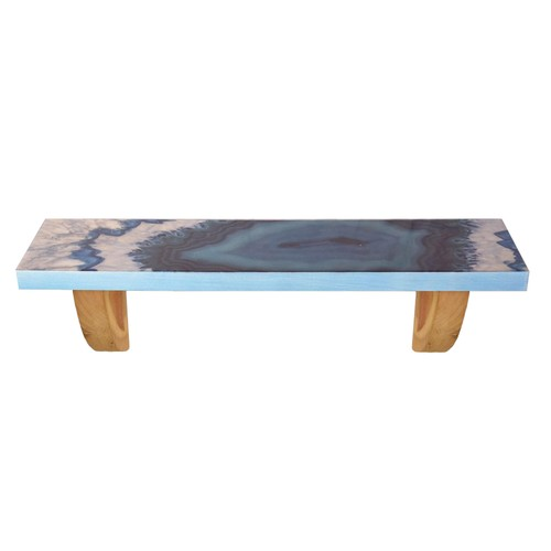 """Blue Agate 24"""" Wooden Decorative Wall Shelf with Keyhole Hangers"""