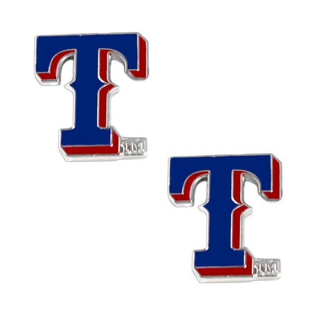 "Texas Rangers Post Stud ""T"" Logo Earring Set Charm - 5/8 by 1/2 MLB"
