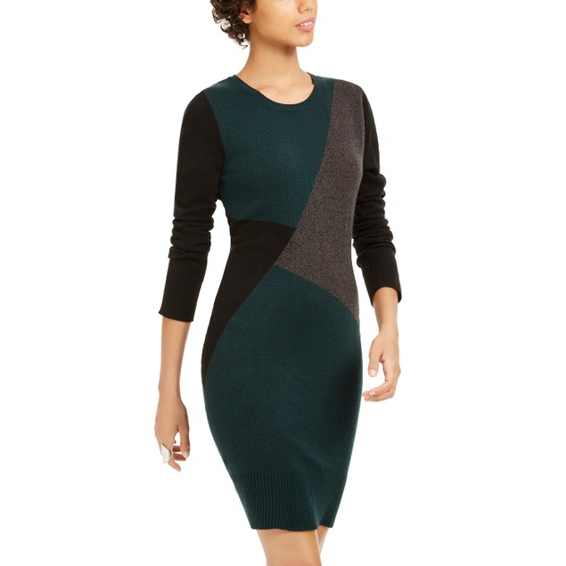 BCX Juniors' Women's Colorblocked Sweater Dress Green Size Medium