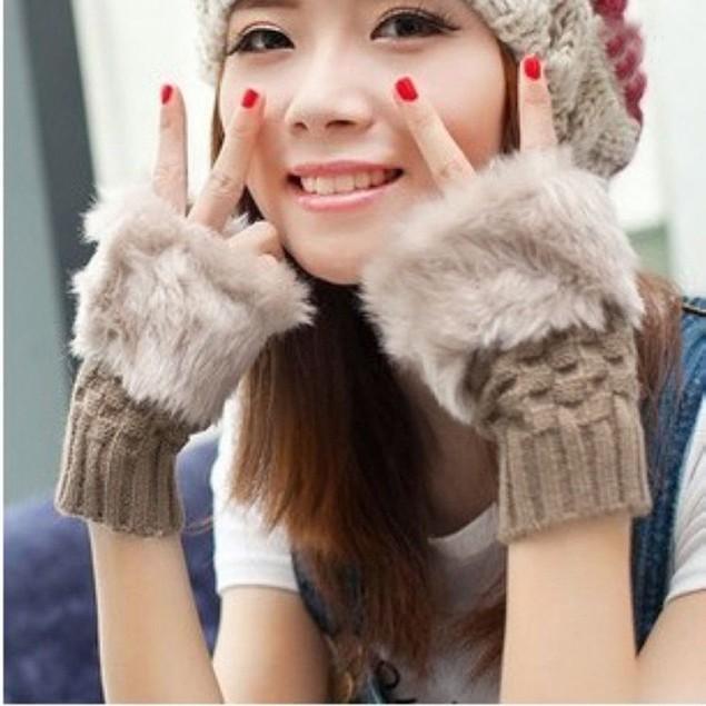 Women Knitted Fingerless Gloves Soft Warm Mitten Fake Rabbit Fur Glove