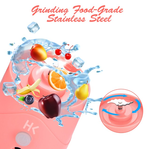 HK 380ml USB Juicer Cup, Portable Blender with USB Charge Cable PINK