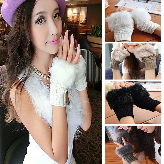 Women Knitted Fingerless Gloves Soft Warm Mitten Fake Rabbit Fur Glove
