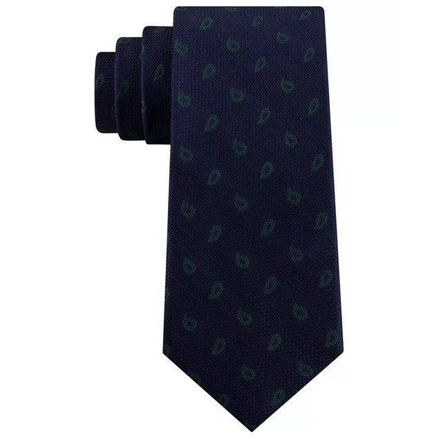 Tommy Hilfiger Men's Classic Textured Paisley Silk Tie Green Size Regular