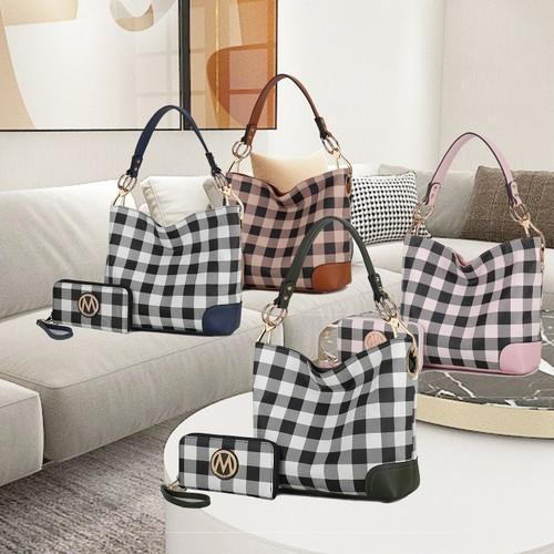 MKF Collection Vivien Checker Hobo & Wallet Set