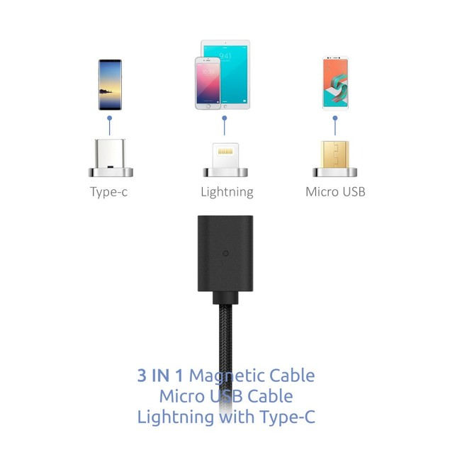 CHARGING 3 IN 1 MAGNETIC CABLE MICRO USB LIGHTNING WITH TYPE-C 3FT BLACK