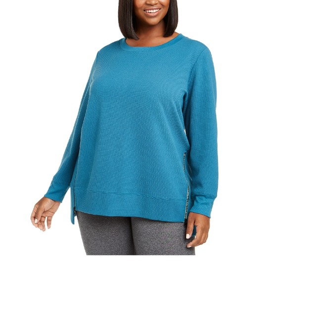 Ideology Women's Plus Size Side-Zipper Sweatshirt Dark Blue Size XX-Large
