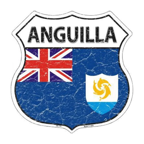 Smart Blonde Anguilla Country Flag Highway Shield Metal Sign HS-170