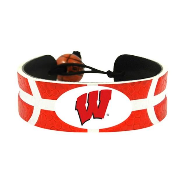 Wisconsin Badgers Team Color NCAA Gamewear Leather Basketball Bracelet