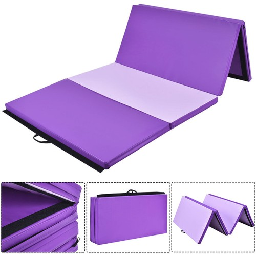 Costway 4'x10'x2'' Gymnastics Yoga Mat Thick Folding Panel Gym PurplePink
