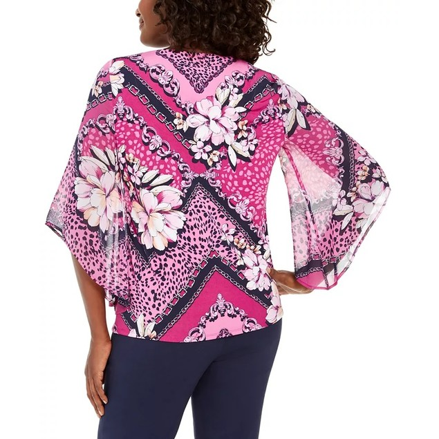 JM Collection Women's Chiffon-Sleeve Printed Tunic Top Pink Size Medium