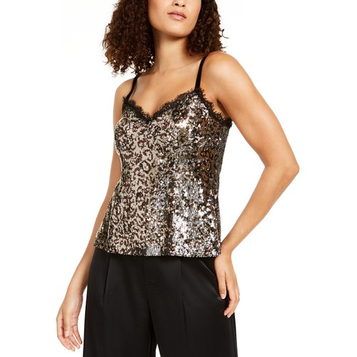 Nanette Lepore Women's Leo Sequined Animal-Print Camisole Gold Size 4
