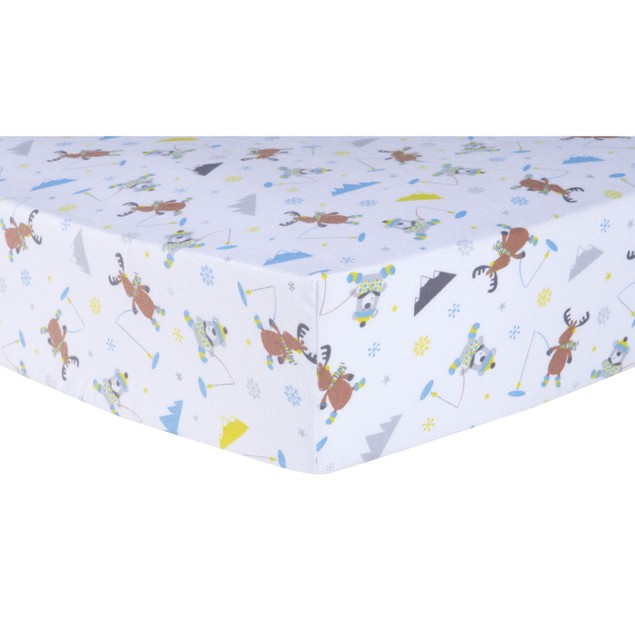 Trend Lab Gone Ice Fishing Deluxe Flannel Kids Crib Sheet