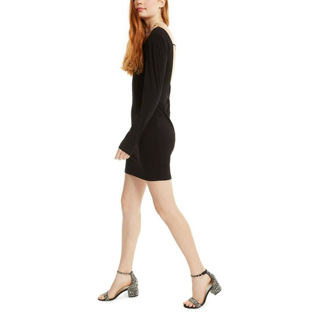 Crystal Doll Juniors' Twisted Open-Back Dress Black Size Small