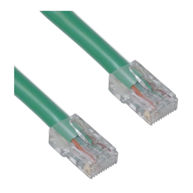 Cat5e Green Ethernet Patch Cable, Bootless, 2 foot