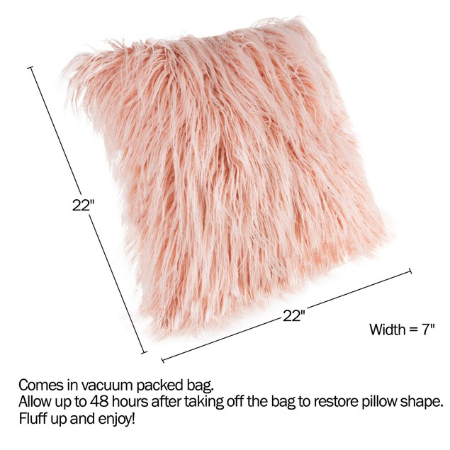 22-Inch Plush Pillow – Luxury Square Floor Pillow Insert and Shag Glam Cover Set– For Bedroom or Living Room by Lavish Home (Pink)