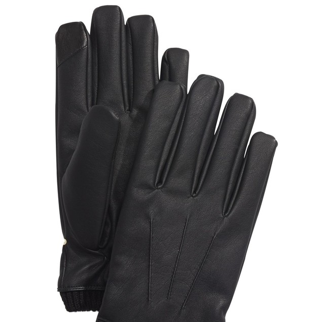 Calvin Klein Men's Faux-Leather Gloves Black Size Extra Large