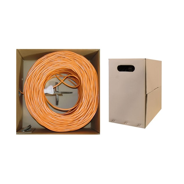 Bulk Cat6 Orange Ethernet Cable,  Pullbox, 1000 foot