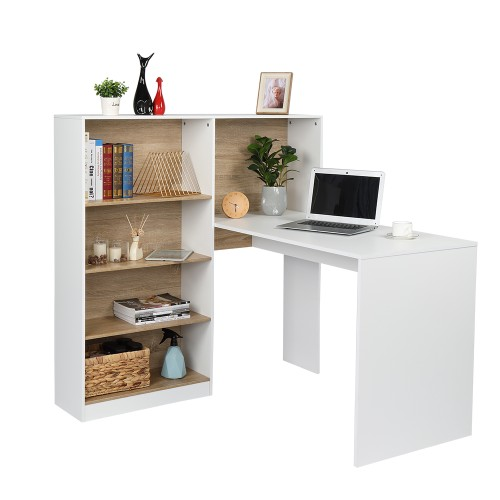 Particleboard Pasted Triamine Steel Frame With Four Simple Bookshelf Computer Desk White