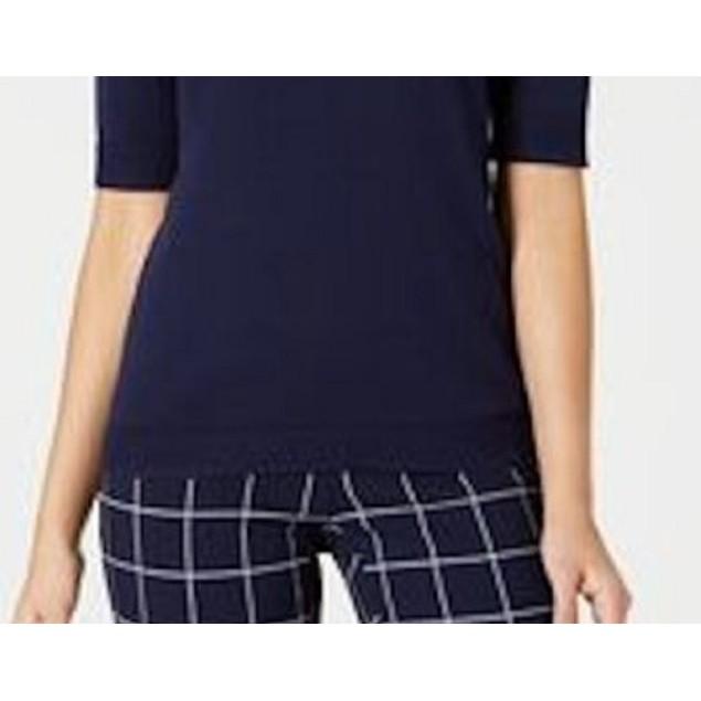 Charter Club Women's Button-Shoulder Sweater Blue Size X-Large