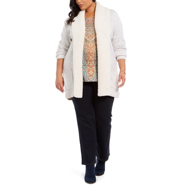 Style & Co Women's Plus Size Sherpa-Collar Cardigan Med Gray Size 3X