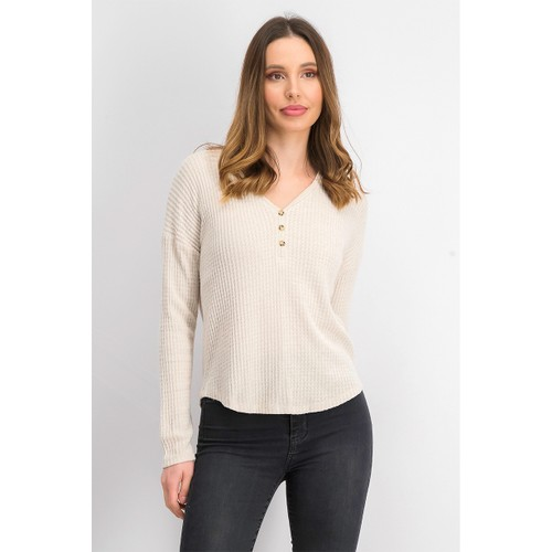 Hippie Rose Juniors' Henley Waffle Knit Top Beige Size Large