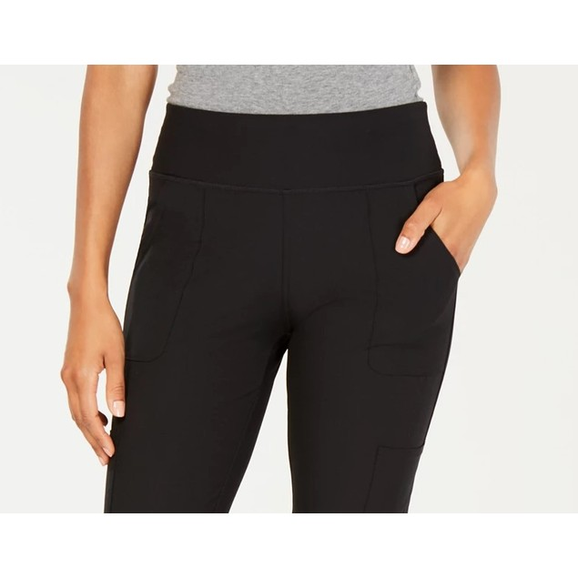 Ideology Women's Knit Back Woven Pants Black Size Small